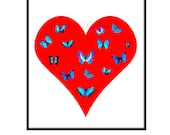 Heart Poster Print Instant Digital Download Butterfly Red White Aqua Blue DIY All Sizes Poster Love Gift for Lover Loved One Valentine Day