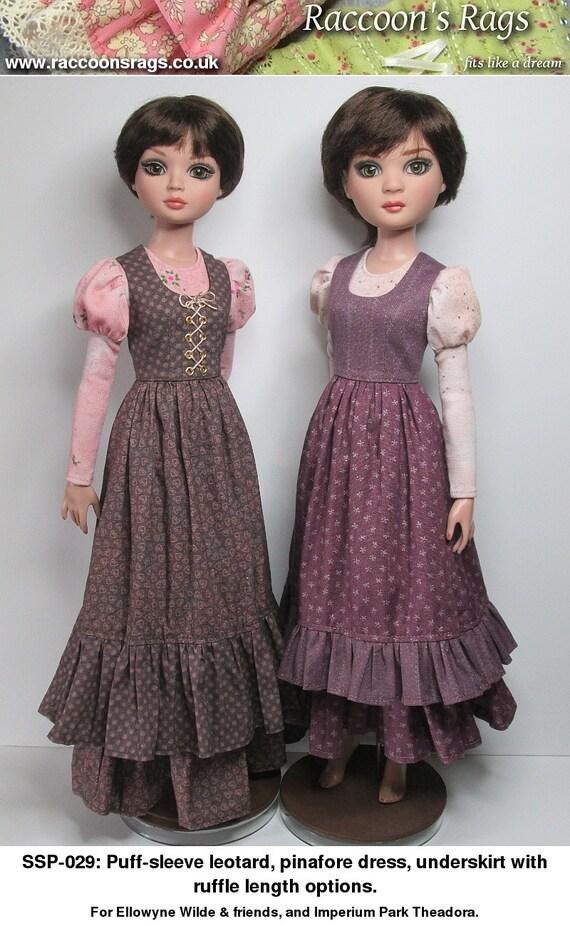 STRAIGHTFORWARD SEWING Pattern SSP-029: Puff-sleeve leotard, overdress and underskirt for Ellowyne Wilde & friends.