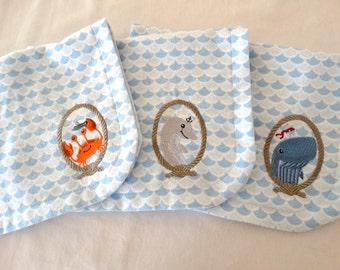 Set of 3 Nautical Embroidered Burp cloths