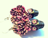 Pink and Black Stripey Day of the Dead Roses, Flower Eyes, and Sugar Skull Earrings