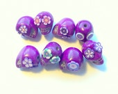 The Purples Sugar Skull Beads Day of the Dead-Collection of 8 12mm beads