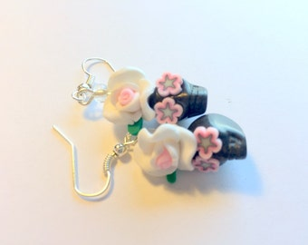 Sugar Skull Earrings Dia De Los MuertosBlack White Pink Rose Skull Earrings