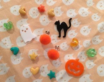 Creepy Cute Halloween Pom Pom Puff Stud Earrings