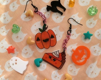 Creepy Cute Halloween Pumpkin Love Dangle Earrings