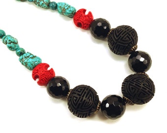 Chunky necklace with red and black cinnabar and turquoise