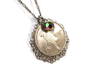 Columbian peso coin necklace with parrot design and vitrail crystal accent
