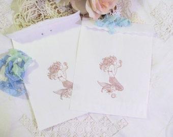 Mermaid White Favor Treat Gift Bag w/ribbons -  Set of 10 - Choose Ribbons - Mermaid Birthday Bridal Shower Bridesmaid Gift Bag