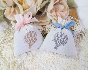 Hot Air Balloon Lavender Mini Sachet Shower Favor - Set of Six - Choose Ribbon Color & Ink - Bridal Shower Baby Shower Birthday