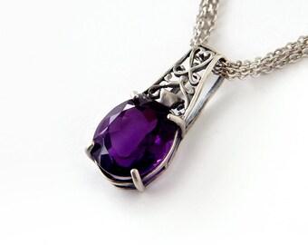 Amethyst Filigree Necklace: Sterling silver, dark purple amethyst, 18 inch chain, grape amethyst, February birthstone, openwork filigree