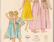 """Vintage Sewing Pattern Misses' Robe & Nightgown Butterick 6048 34"""" Bust - Free Pattern Grading E-book Included"""