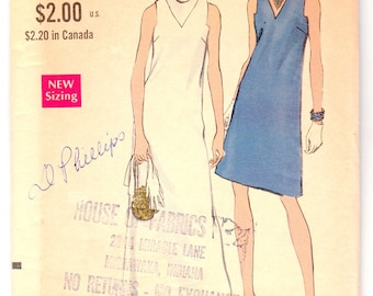 """Vintage Sewing Pattern Vogue 7332 Ladies' Maxi & A-line Dress 34"""" Bust - Free Pattern Grading E-book Included"""