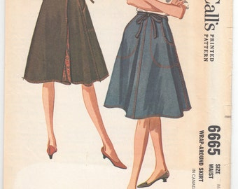 """1960's Vintage Sewing Pattern Ladies' Wrap Skirts McCall's 6665 26 - 28"""" Waist- Free Pattern Grading E-book Included"""
