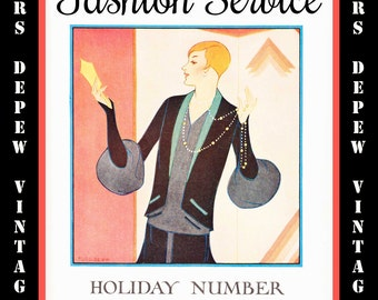 Vintage Sewing Book Winter 1926 1927 Fashion Service Magazine Dressmaking Ebook Featuring Hats, Dresses and Lingerie -INSTANT DOWNLOAD-