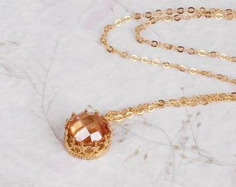 Stone  Necklace, Gold Victorian Necklace, Gold Layered Necklace, Filigree  Necklace, CZ Stone Pendant Necklace, Orange Stone Necklace, OOAK
