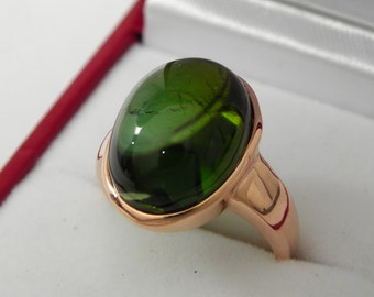 AAAA Green Tourmaline   16x12mm  12.77 Carats   Brazilian Verdelite in 14K Rose gold ring, also available in White gold 0710