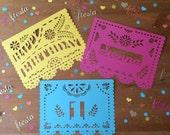 Birthday Fiesta Garland Fiesta Custom Papel picado (10 flags per garland) 8.5 x 11 inch card stock - ready to hang