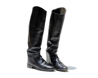 Vintage Black Leather Riding Boots / Tall Boots / size 6.5