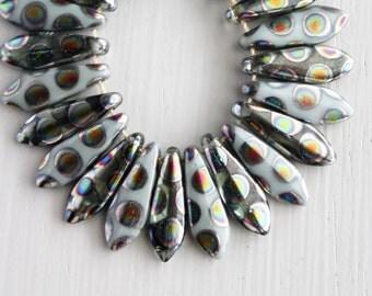 Silver/White Peacock 5x15mm Czech Glass Dagger Beads
