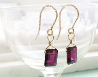 January Birthday Gift • Emerald Cut Garnet Earrings • Garnet Birthstone • Red Faceted Square Cut • Deep Red Briolette
