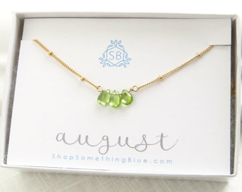 August Birthday Gift • Peridot Necklace Satellite Chain • Smooth Peridot Birthstone • Green Gemstone • August Birthstone • Simple Necklace