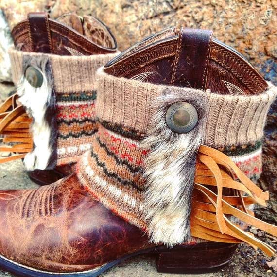 Fair Isle Sacagawea Mini Boot Sweaters, Mongolian Faux Fur, Leather Fringe, Boot Cuffs, Boot Toppers, Boot Accessories // Made to Order