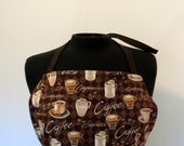 Full Apron - Coffee Mugs - with pockets and long, brown ties
