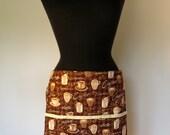 Half Apron  - Coffee Mugs - with pockets and long, brown ties