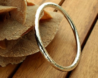 Silver bangle | 5 mm hammered bangle | rustic silver bangle | heavy silver bangle | 4 ga | women's bangle | men's bangle | made to order