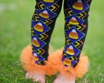 Halloween Candy Corn Ruffle Tutu Leg Warmers, Tutu Leggings, Perfect for your little pumpkin, Halloween costume, party, photos