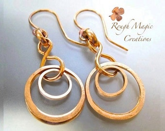 Rustic Raw Copper Earrings Double Ring Dangle Boho Gypsy Earrings Abstract Geometric Circle Earrings Eco Friendly Upcycled Industrial Metal