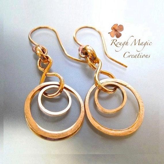 Rustic Raw Copper Earrings Double Ring Dangle Boho Gypsy EarringsAbstract Geometric Circle Earrings Eco Friendly Repurposed Industrial Metal