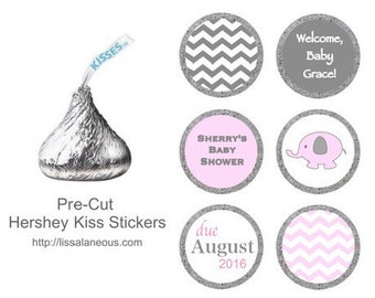 88 Hershey Kiss Labels  - Stickers for Candy Kisses - Pink Elephant Baby Shower Favor