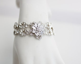 Wedding Bracelet Crystal Wedding Jewelry Bridal Bracelet Rhinestone Flower Bracelet AINSLIE