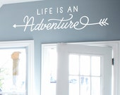 Adventure Wall Decal - Life is an Adventure - arrow wall decor - adventure quote