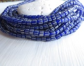 small blue  striped seed beads, opaque matte , spacer bead, barrel tube, New  Indo-pacific 3 to 6mm / 10 in strd, 6A13-3