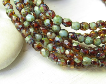 Blue brown Czech glass beads, faceted round oval 4mm ,  turquoise  and amber   with  picasso   / 50 beads  6aZ071