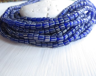 small blue  striped seed beads, opaque matte , spacer bead, barrel tube, Modern Indo-pacific 3 to 6mm / 10 in strd, 6A13-3