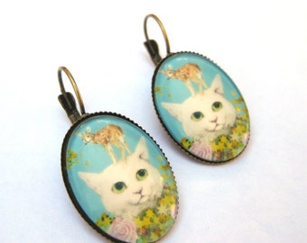 Cat Earrings Lever Back Glass Dome Earrings -  Kitty with Fawn Baby Deer