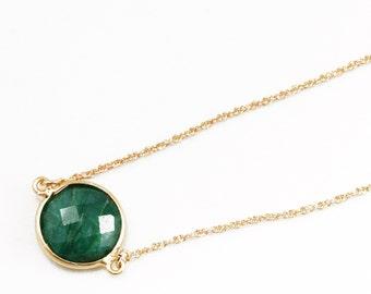 Green Emerald Necklace 14k Gold Bezel Genuine Emerald Necklace Real Emerald Necklace May Birthstone Precious Emerald Jewelry BZ-N-152-Em/g