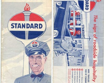 Vintage 1950 Standard Oil Company Iowa State Highway Road Map, Folding Map, Red Crown, Oil Advertising