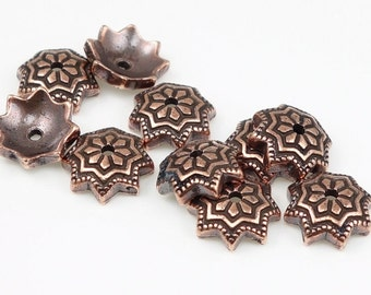 Copper Bead Caps 8mm Talavera Star Antique Copper Beadcaps by TierraCast Tierra Cast Pewter Viva Mexicana Talavera Art Style Caps  (PC164)