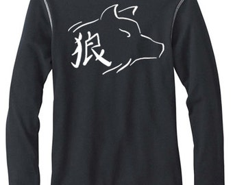 Ookami Wolf Shirt Japanese kanji for wolf gothic wolves long sleeve thermal tee werewolf soft grunge