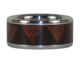 Tribal Ring with Koa and Milo Wood