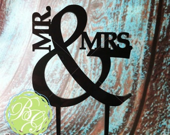 Mr & Mrs Wedding Cake Topper, Anniversary Cake Topper, Ampersand Cake Topper