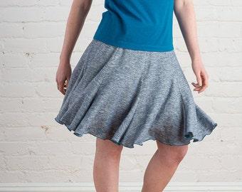 Shooting Star Skirt, flowy, hemp & organic cotton lightweight jersey gored skirt, eco fashion