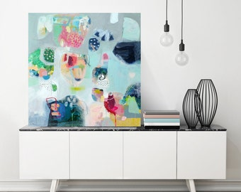 """Abstract painting, Original mixed media painting on stretched canvas, 24"""" x 24"""""""