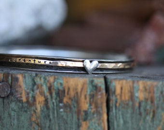 SPINNER BANGLE gold filled on sterling silver with hand sculpted heart bangle bracelet