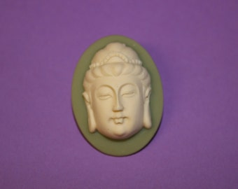 3D Large Green Buddha Cameo Brooch