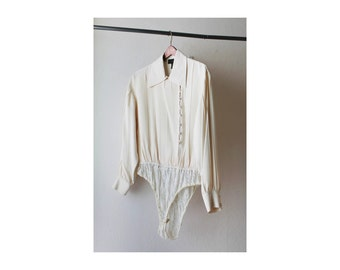 1990's Neutral Sheer Bodysuit Blouse