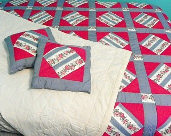 1980s Vintage Handmade Fuchsia and Periwinkle Quilt with Matching Throw Pillows Queen Size Bedspread Blanket